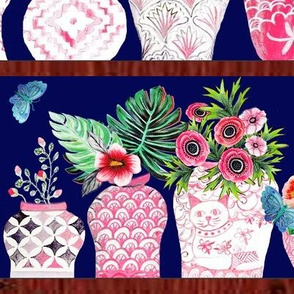 Pink Chinese ginger jars with palms and flowers