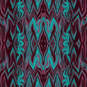 DGD1 - XL - Rococo Digital Dalliance, with Hidden Gargoyles -  Maroon - Aqua - Burgundy