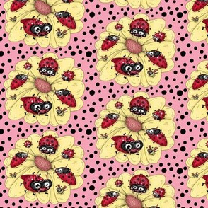 some quirky ladybugs and a couple of cute bees, small scale, pink coral yellow red black white