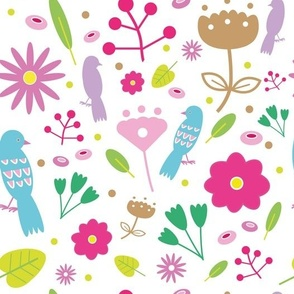 Colorful floral pattern with birds