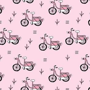 Little bicycle ride summer garden bike design pink