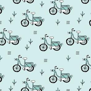 Little bicycle ride summer garden bike design blue