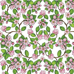 Pink Apple Blossoms - Floral Pattern With Flower Buds, Leaves & Branches