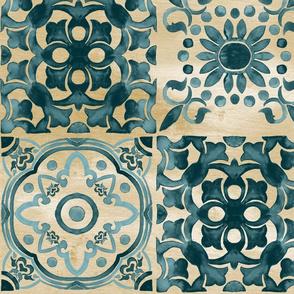 Teal Tan Boho Moroccan Tile