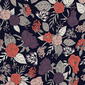 Purple, Gray, Navy Blue & Coral Floral/Botanical Pattern