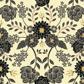 Gray, Black, Cream, Yellow & Red Sophisticated Floral Pattern