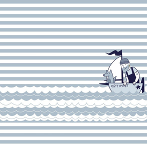 Cute Sailor with dog in Small Boat Navy stripes