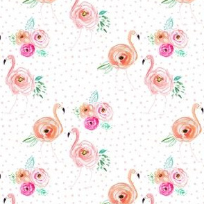"4"" Floral Flamingo Florals with Blush Pink Polka Dots"