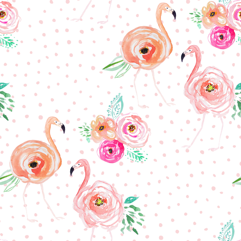 "8"" Floral Flamingo Florals with Blush Pink Polka Dots fabric by shopcabin on Spoonflower - custom fabric"