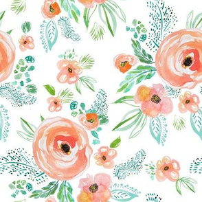 "8"" Modern Bohemian Peach with Extra Florals"