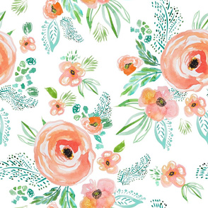"21"" Modern Bohemian Peach with Extra Florals"