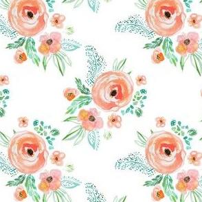 "4"" Modern Bohemian Peach Flowers"