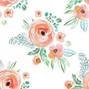 "8"" Modern Bohemian Peach Flowers"