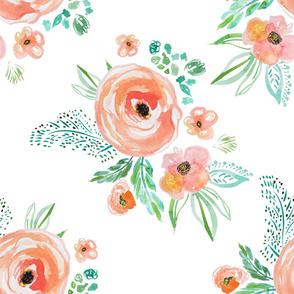 "21"" Modern Bohemian Peach Flowers"