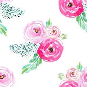 "8"" Modern Bohemian Pink Flowers"