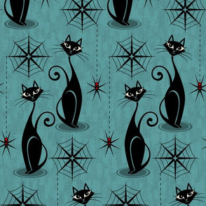 Retro Spooky Meow - Distressed Blue