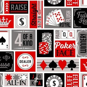 Patchwork Poker Phrases: Red and Gray (Large Scale)