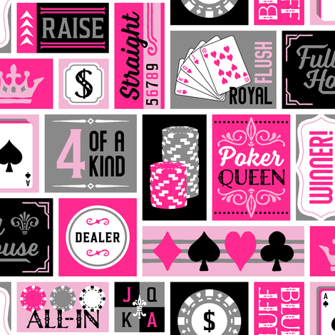 Poker Queen Patchwork in Pink (Large Scale) fabric by moonpuff on Spoonflower - custom fabric