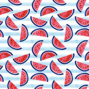 (small scale) watercolor watermelon on blue stripes - red white and blue - July 4th fabric C19BS