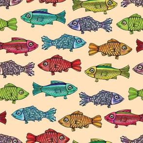 Rainbow Fish on Tan by ArtfulFreddy