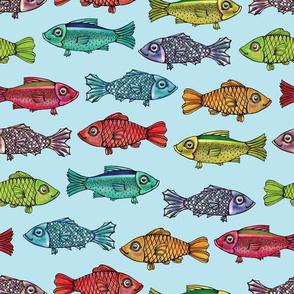 Rainbow Fish on Light Blue by ArtfulFreddy