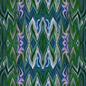 DGD7 - XL - Rococo Digital Dalliance Lace, with Hidden Gargoyles,  in Blue and Green