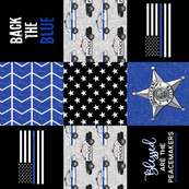 Police Patchwork (star badge) - Blessed are the peacemakers - thin blue line - back the blue wholecloth (90)