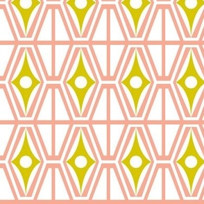 Metro - Midcentury Modern Retro Geometric Fusion Blush Pink & Citron Yellow