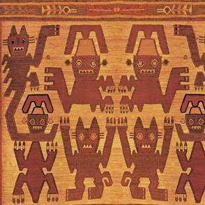 Inca Tribal Cats  Rust
