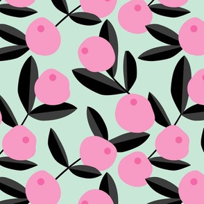 Citrus summer garden fruit and leaves botanical branch tropical spring design pink mint peach green