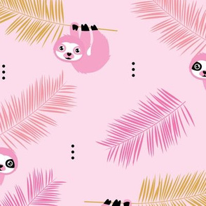 Cute little Sloths and palm leaves summer jungle pura vida design pink girls