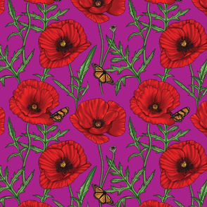 Botanical Red Poppy Flowers on Purple Magenta - Small Size