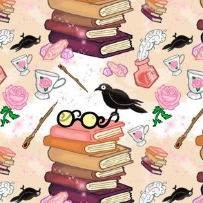 Wizard's Magical Library book stack