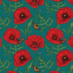 Botanical Red Poppy Flowers on Dark Green - Small Size