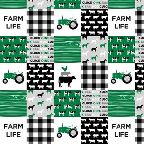 "(1.5"" small scale) farm life - wholecloth green and black - woodgrain C19BS"