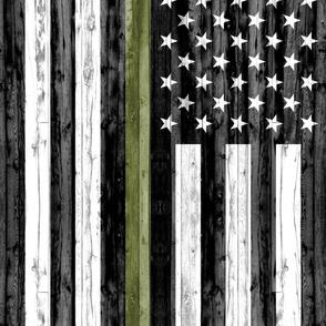"2 yard cut (54"" width) minky panel  - American Flag - Thin green line"