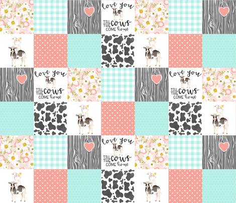3 inch Farm//Love you till the cows come home//Mint&Coral - Wholecloth Cheater Quilt  fabric by longdogcustomdesigns on Spoonflower - custom fabric