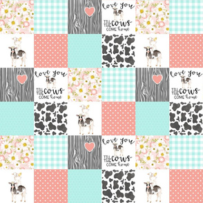 3 inch Farm//Love you till the cows come home//Mint&Coral - Wholecloth Cheater Quilt