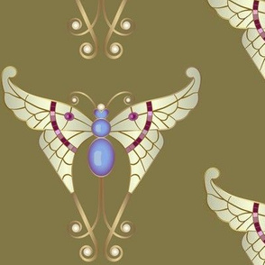 Bejeweled Butterfly: Khaki Green