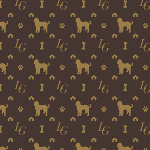 Louis Luxury Goldendoodle Dog Pattern on Brown