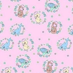 Pastel Sailor Animals Ditzy size