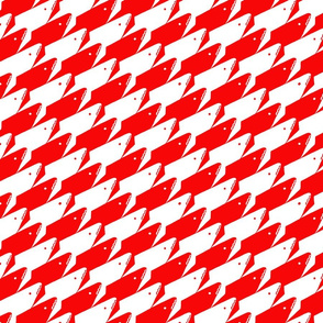 Sharkstooth Sharks Pattern Repeat in White and Red