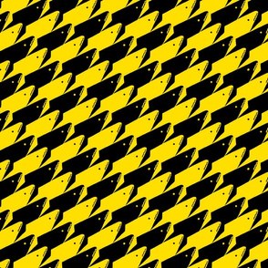 Sharkstooth Sharks Pattern Repeat in Black and Yellow