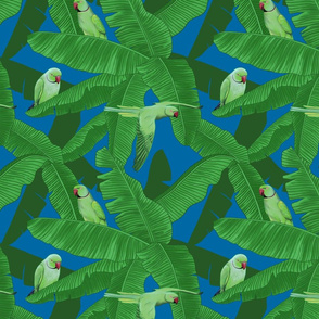 Tropical Parrots Birds within Palm Leaves - Dark Blue Small