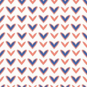 1950s Style Retro Love Heart Seamless Pattern