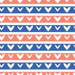 1950s Style Retro Love Heart Stripes Seamless Pattern