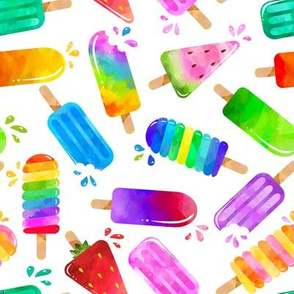 watercolor summer popsicles