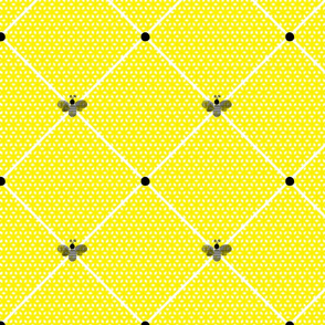 Black and Yellow Bee on Grid