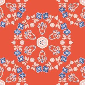 1950s Style Retro Daisy Flower Circle Seamless Pattern