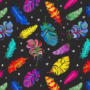 Rainbow Feathers Dark Charcoal Ground